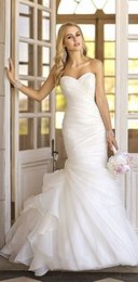 Wholesale Dress Elegant For Beach - Simple Elegant Mermaid Wedding Dresses Beach Backless Layered Organza White Wedding Gowns 2016 For Bride plus size Pleated Sweetheart