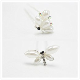 Wholesale Hair Accessories Dragonfly - 10pcs lot Dragonfly Elegant Pearl Bridal Hairpins Simple Insect Shape Party Dancing Accessory Hair Jewelry CZ-4OE09