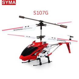 Wholesale Alloy R C Helicopter - Syma S107G Original 3.5CH RC Helicopter Drone with gyro Radio remote Control toys Metal alloy fuselage R C Helicoptero quadcopter