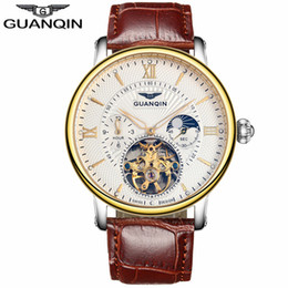Wholesale Luxur Watches - relogio masculino GUANQIN Mens Watches Top Brand Luxur Tourbillon Skeleton Luminous Clock Men Casual Leather Mechanical Watch