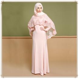 Robes Evening Wear Arabie Musulman Hijab Robe de Demoiselle D'honneur Dentelle Coton A-ligne Manches Longues Élégantes Gris Rose Robes Robes ? partir de fabricateur
