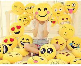 Wholesale 12cm Baby Dolls - wholesale QQ emoji smiley plush dolls toys Cute Lovely 12cm Emoji Smiley Pillows Yellow Round Pillow Stuffed Plush Toy