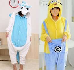 Wholesale Minions Costumes - Mens Animal Blue Minion Unicorn Pajamas Onesie Cosplay Halloween Adult Unicorn Costume