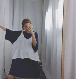 Wholesale Long Sleeved Dress Korean - Summer Korean style loose short-sleeved T-shirt solid color long section of women students big yards dress +vest