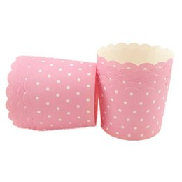Wholesale Cheap Cupcake Cakes - Free shipping pink white polka dots cupcake case, muffin paper dot cake cups tin liners, cheap cupcakes boxes holder supplies