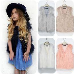 Wholesale Children S Cute Fashion - Winter Girls Kids Faux Fur Waistcoat Vest Fashion Sleeveless V-Neck Fur Jacket Coat Cute Children Outwear Free Shipping