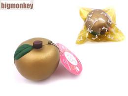 Correas del encanto al por mayor online-Big Monkey 20Pcs / Lot Pu 7Cm Golden Fruit Squishy Charm Super Slow Lising / Pu correa del teléfono / incluyendo la etiqueta al por mayor