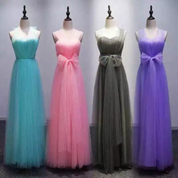 Wholesale Summer Soft Dress - Soft Tulle long Convertible Bridesmaid Dresses 2017 Pleated Wedding Party Dress New Bridesmaid Gowns Under 50