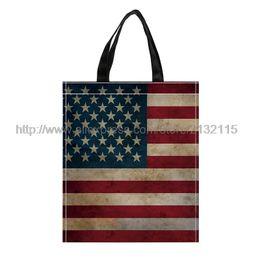 Wholesale Handbag Usa Flag - 4Pcs USA Flag Print Custom Eco Reusable Shopping Bags Nonwoven Fabric Grocery Packing Recyclable Bag Tote Handbag