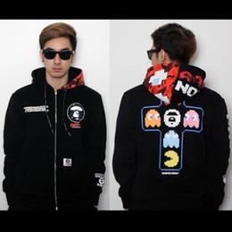 Wholesale Hot Ape - hot New Aape High Quality Digital Retro Pac Man Ape Head Joint Lovers Plus Velvet Hooded Cardigan Sweater Hip Hop Hoodies Men