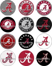 Wholesale alabama flags - Free shipping ALABAMA Sport FOOTBALL glass Snap button Jewelry Charm Popper for Snap Jewelry good quality 12pcs   lot Gl343 jewelry making