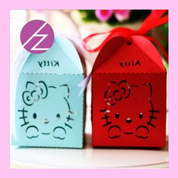 Wholesale Chocolate Shower Favors - Wholesale- 50pcs lotEuropean Customized Hello kitty baby birthda Laser Cut wedding candy box Delicate chocolate favors baby shower gift box