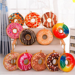 Wholesale Plush Toys 3d - Funny 3D Creative Cute Donuts Decorative Pillows Chocolate Donuts almofada Plush Nice Bottom Cushion Toy Doughnut Coussin