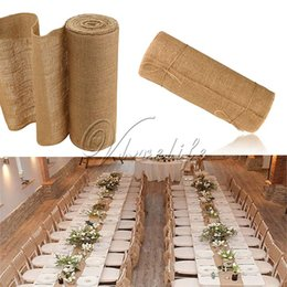 Wholesale Roll Runners - 10Meter X 30Cm Natural Jute Hessian Burlap Ribbon Roll Burlap Table Runners Wedding Party Chair Bands Vintage Home Decorations