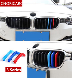 Wholesale plastic grilles - CNORICARC Tricolor Buckle Front Grille Trim Strips For BMW 3 series f30 3GT 13-17 e90 09-12 ABS Motorsport Power Performance
