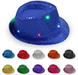 Wholesale Sequin Hats Caps - 200pcs LED Jazz Hats Flashing Light Up Led Fedora Trilby Sequins Caps Fancy Dress Dance Party Hats Hip Hop Lamp Luminous Hat G095