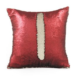 Wholesale Numbered Cushions - DIY Mermaid Sequin Cushion Cover 40*40cm Number Magical Throw Pillow Case Reversible Pillowcase Home Car Decoration JU160