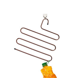Wholesale Hat Storage - 50pcs Color Anti-skid Trousers Rack Hanger Multi-function 5 Layer Pants Hanger Scarf Silk Tie Mounts Stainless Steel Clothes Peg ZA0770