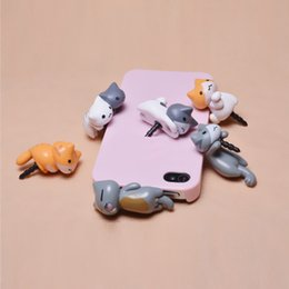 Wholesale Cute Mobile Phone Plug - 3.5mm cheese cat anti dust plugy cute cartoon design mobile phone ear caps plug Cheese Cat Ears Anti Dust Earphone Plug