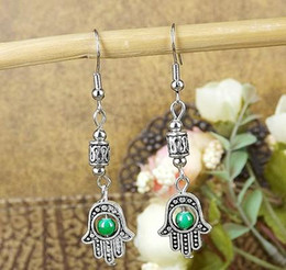 Wholesale Animal Vintage Earrings - ER334 Gypsy 5 colors Turkey Eye Buddha hand Tibetan Silver Beaded vintage drop earrings wholesale Jewelry