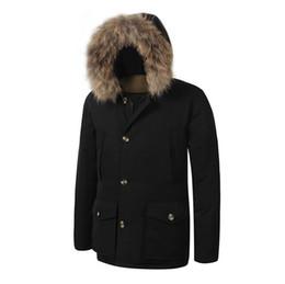 Wholesale Men Arctic Parka - 2018 New Men's Arctic Down Parka With Big Raccoon Fur Warm JACKET Winter Coat