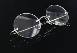 Wholesale Rimless Prescription Glasses - high Quality Steve Jobs Style Alloy Rimless Optical Prescription Glasses Frame Round Clear Lens Glasses Free SHIPPING