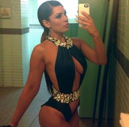 Un pezzo di vestiti da bagno tagliato fuori online-All'ingrosso - Pareo di alta qualità con strass Crystal Crystal Costume intero intagliato Swimwear Donna Biquini Monokini con spacco alto Costume da bagno
