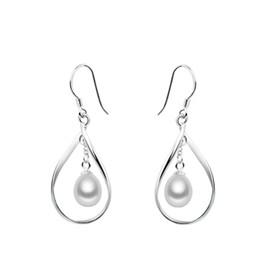 Wholesale Silver Earrings Loops - 2016 Loop Pearl Earrings Natural Freshwater Cultured Drop Pearl Earrings Hot Selling 925 Sterling Silver Earrings For Women