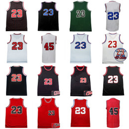 Wholesale Mixed Basketball Jersey - High Quality Mens #45 #23 JD Retro Michael Jerseys Stitched Throwback Basketball Jerseys Red Black White S-3XL Mix Order Wholesale