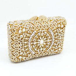 Wholesale Clear Crystal Evening Bag - Gift Box Packed Ladies Clear Crystal Rhinestones Handbags Diamond Gold Evening Bags Clutches for Wedding Bridal Metal Clutch