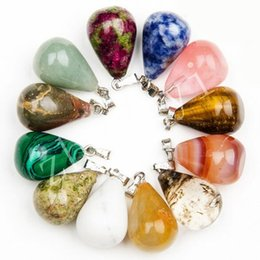 Wholesale Natural Mix Gemstone Pendants - Mixed Natural Stone Gemstone Waterdrop Pendants Turquoise Crystal Charms Silver Plated Hook Jewelry Accessary Fit DIY Necklace For Lovers