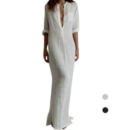 Wholesale Sexy Party Club Shirt Woman - S5Q Women Spring And Autumn Elegant Sexy Long Evening Party Dress Shirt Dresses AAAFVA