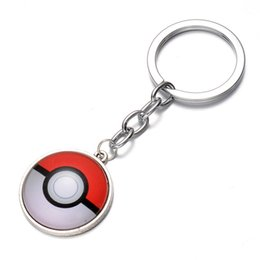 Wholesale Cheap Boy Toys Christmas - poke fashion keychain 2016 Halder Keychain Pikachu poke ball pokeball Gemstone Pendant Cartoon Anime Key Rings toys christmas Gifts cheap