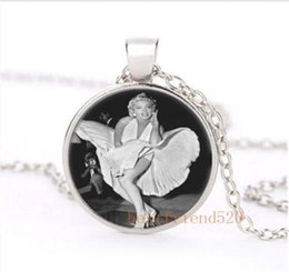 Wholesale Nepal Silver - Sexy Marilyn monroe dress Cabochon Glass Silver Necklace for woman Jewelry Choker suede spiral cage pendant nepal jewelry canada gose