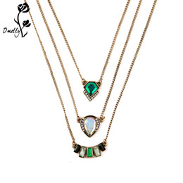 Wholesale Cheap Bulk Jewelry Charms - Statement Necklaces Mutil Layers Pendant Necklace Gold Filled Kendra Charms Crystal Necklace Christmas Jewelry Wholesale in Bulk Cheap