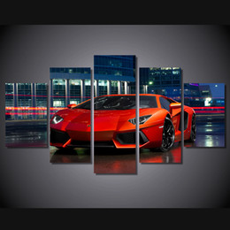 Wholesale Abstract Sports Wall Art Painting - 5 Pcs HD Printed Red luxury sports car Painting Canvas Print room decor print poster picture wine glasses canvas wall art