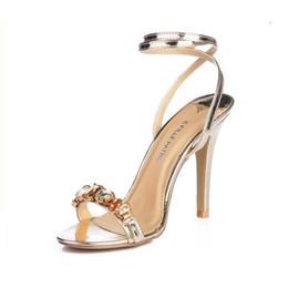 Strass sandales gladiateur argent en Ligne-vente chaude, plus la taille 35-43 femmes gladiateur strass talons hauts sandales élégantes dames sexy partie chaussures de mariage marque or / argent sandalias