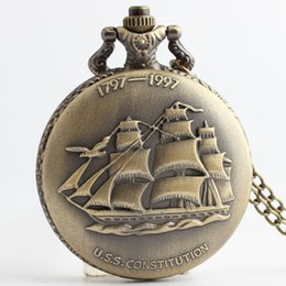 Wholesale Pocket Sailboats - Retro Sailboat USS Constitution Ship Pocket Watch Necklace Pendant Men's Women USS Constitution Ship