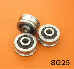 Wholesale 20pcs high quality SG25 U Groove pulley wheel ball bearings mm Track guide roller bearing SG8RS x30x14 double row balls ABEC
