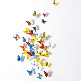 Wholesale Colors Television - 3D Butterfly PVC Wall Sticker 19pcs Set Home Decor Simulation Butterfly Wall Stickers 8 Group Colors Wall Stickers
