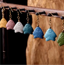 Wholesale Blue Fish Plate - 8 Colors Fat Fish Lava Stone Earrings Perfume Essential Oil Diffuser Earrings Natural Stone Ethnic Earrings Accessories Jewelry for Women