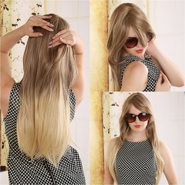 Wholesale Long Fashion Wigs - 2018 Fashion Brown Blonde Peruca Ombre Wig Synthetic Hair Long Wig Top Quality Long Natural Straight Hair Wigs