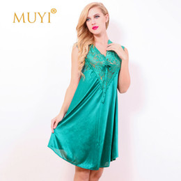Wholesale Women Sleepwear Dress For Summer - Wholesale- Sexy Night Dresses for Women Night Sexy V Neck Nightwear Babydoll Sleepwear Lace Nightgowns Sleepshirts Summer Nightdress 2017
