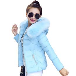 Wholesale Warm Hooded Ladies Coats Jackets - 2017 high quality women winter big fur hooded collar coat female outerwear ladies warm short basic jacket slim jaqueta feminina