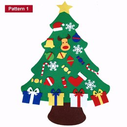 Wholesale Craft Xmas Decorations - 2017 New Kids Diy Felt Christmas Tree Set With Ornaments Children Gift Toddler Door Wall Hanging Preschool Craft Xmas Decoration