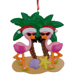 Wholesale Bird Christmas Ornaments - Maxora Flamingo Birds Vacation Couple Personalized Christmas Ornaments Write Own Name For Lover Valentine Day Gifts