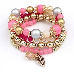 Wholesale Candy Acrylic Beads - Charms Bracelets for Women 2016 Bohemian Multilayer Candy Color Beads Tassels Bracelet Bangles For Women Elastic Stretch Beaded Bracelet