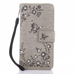 Wholesale Diamond Xperia - Bling Diamond Butterfly Flip PU Leather Wallet TPU Case for Samsung A3 A5 A7 J3 J5 J7 2017 LG K4 Sony Xperia L1 Huawei P8 P9 lite P10