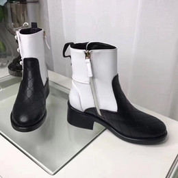 Wholesale Mixed Flat Pearls - 2017 new Arrivals fall Womens black white twotone Quilted real Leather pearl Jewelry Embellished short biker Motorcycle Boots