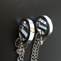 Wholesale Breast Sm - Hot Unisex Sex Bondage Metal Plated Spur Nipple Press Clamps With Metal Chains Breast Pressing Tits Torture Toys SM Sex Products